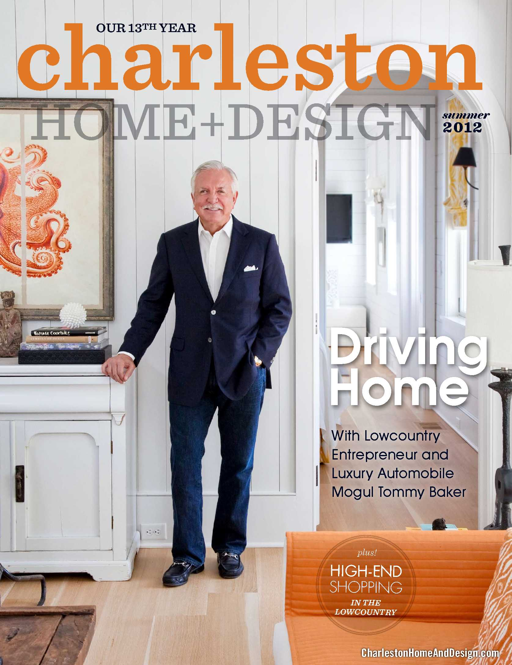 Baker motor company president tommy baker featured on for Charleston home design magazine