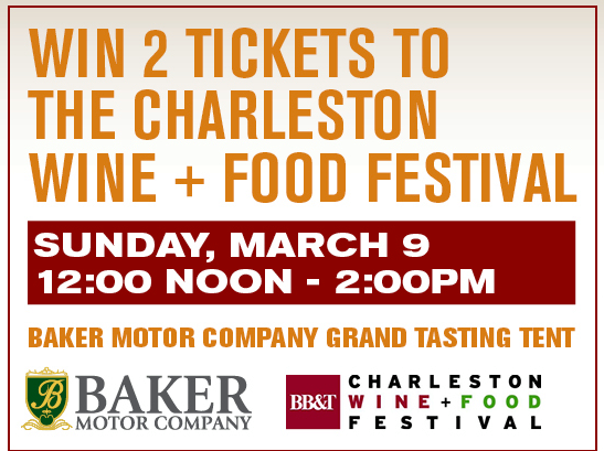 Win Free Charleston Wine Food Festival Tickets Baker